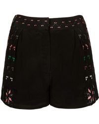 TOPSHOP - Aztec Embroidered Shorts - Lyst