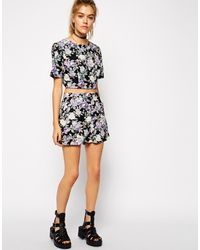 Asos Reclaimed Vintage Purple Floral Cut Out Detail Crop Top - Lyst