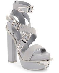 Versace Leather Buckle Platform Sandals - Lyst