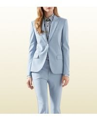 Gucci Blue Silk Wool Stretch Drill Jacket - Lyst