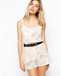 Asos Reclaimed Vintage Playsuit in Washed Jersey Print - Lyst