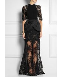 Alessandra Rich Lace Crepe and Satinjacquard Peplum Gown - Lyst