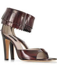 Marc Jacobs Burgundy Leather Fringed Sandal - Lyst