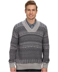 Lacoste Cottonwool Patterned Shawl Collar Sweater - Lyst