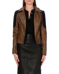Karen Millen Leather Biker Jacket - Lyst