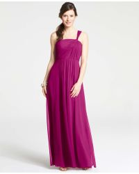 Ann Taylor Petite Silk Georgette One Shoulder Gown - Lyst