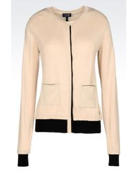 Armani Jeans Crew Neck Cardigan In Cotton Modal - Lyst