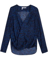 10 Crosby Derek Lam Swallow Print Draped Front Blouse - Lyst