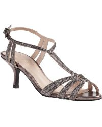 Pelle Moda Anisa Evening Sandal Pewter Fabric - Lyst