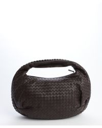 Bottega Veneta Dark Brown Woven Leather Belly Veneta Hobo - Lyst