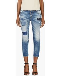 DSquared2 Blue Cool Girl Faded and Patched Cropped Jeans - Lyst