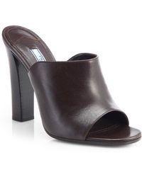 Prada Opentoe Leather Mules - Lyst