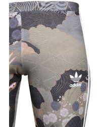 Adidas Originals - Bedruckte Leggings aus Techno-Jersey in Grau Lyst