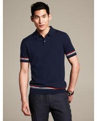 Banana Republic Tipped Sweater Polo Preppy Navy - Lyst