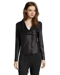 Elie Tahari Black Leather 'Andreas' Asymmetrical Zip Jacket - Lyst