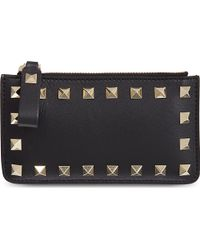 Valentino Zipped Card Holder Black - Lyst