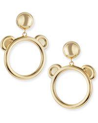 Moschino - Teddy Bear Golden Bijoux Hoop Earrings - Lyst