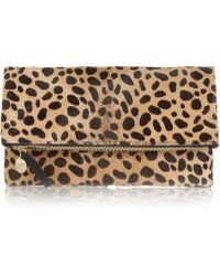 Clare V. Foldover Leopardprint Calf Hair Clutch - Lyst