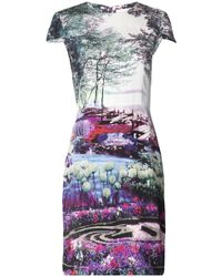 Mary Katrantzou Cap Sleeve Printed Dress - Lyst