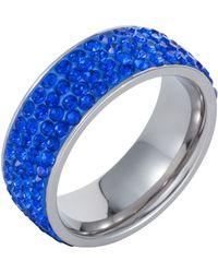 Aurora Flash   Stainless Steel Cubic Zirconia Sapphire Ring   Lyst