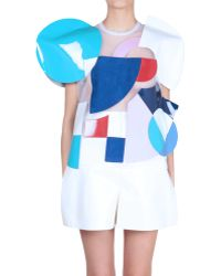 Junya Watanabe Geometric Motif Multicolor Top white - Lyst