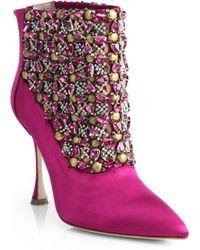 Manolo Blahnik Bragima Embellished Satin Ankle Boots - Lyst