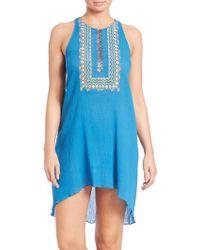 Shoshanna | Embellished Cotton Bohemian Tank Dress | Lyst