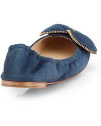 See By Chloé Suede Bowtie Ballet Flats - Lyst