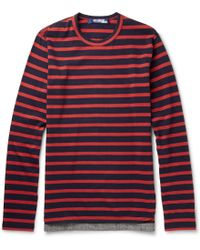 Junya Watanabe Striped Long-sleeved Cotton-jersey T-shirt - Lyst