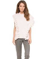 3.1 Phillip Lim Crochet Ruffle Sleeveless Knit  Ivory - Lyst