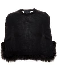 Simone Rocha Merino Wool Cape With Feather Embellishment - Lyst