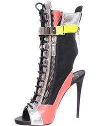 Giuseppe Zanotti Leather Open-Toe Ankle Boots - Lyst