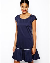 Love Moschino Drop Waist Dress in Cotton with Embroidered Trim - Lyst