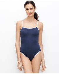 Ann Taylor Blue Tipped Maillot - Lyst