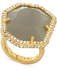 Vince Camuto - Gold-plated Pave Grey Stone Ring - Lyst