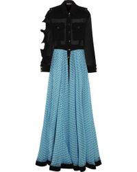 Emanuel Ungaro Ruffle-trimmed Silk-chiffon Maxi Dress - Lyst