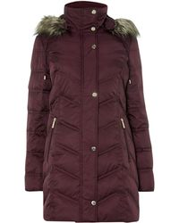 Kenneth Cole - Long Padded Coat With Fur Hood - Lyst