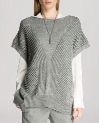 Halston Heritage Short Sleeve Poncho Sweater - Lyst