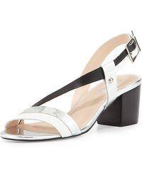 Andrew Stevens | Sofia Asymmetric Strap City Sandal | Lyst