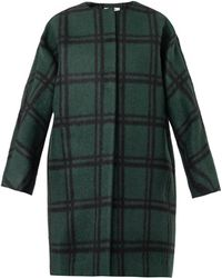 Marni Collarless Checked Cocoon Coat - Lyst