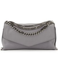 Milly Collins Chain Leather Clutch Bag Charcoal - Lyst