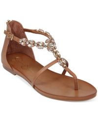 Jessica Simpson Whitten Jeweled Flat Thong Sandals - Lyst