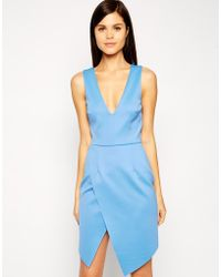 Asos Asymmetric Scuba Wrap Super Plunge Dress - Lyst