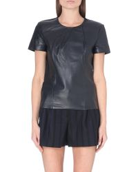 Maje Leather Top Nuit - Lyst