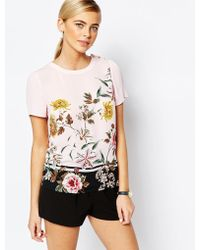 Oasis | Floral Woven Tee | Lyst