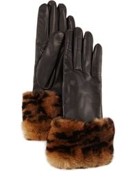 Gala - Animal-print Fur-trimmed Leather Gloves - Lyst