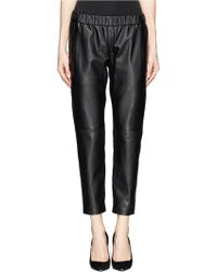 Theory Korene Crop Leather Pants - Lyst