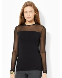 Lauren by Ralph Lauren Mesh-yoke Crewneck Top - Lyst