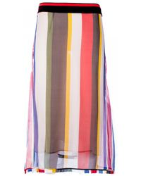 Marni Silk Skirt With Multicolor Pattern multicolor - Lyst