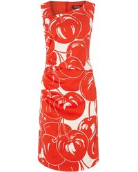 Max Mara Studio Floral Print Dress with Ruched Side - Lyst